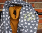 Monogrammed Infinity Scarf Grey White Dot Mint Green Monogram