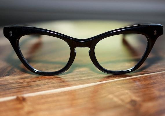 Vintage Cat Eyeglasses Cat Eye Black Straight Arm Frames Stars