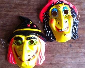 Set of 2 Vintage Neon coloured Halloween masks