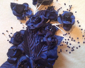 Navy Blue Rose Fascinator!!