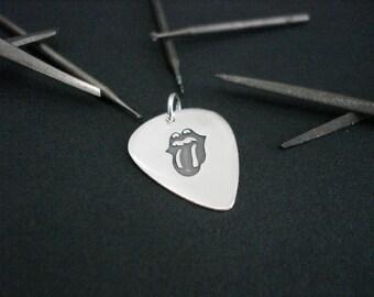 Mini silver handmade guitar pick - ROLLING STONES