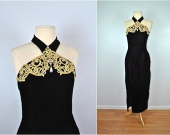 Scott McClintock Velvet Formal Dress, Vintage Velvet Dress, Vintage Black Dress With Gold Accents
