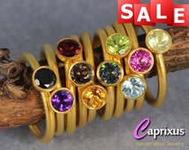 SALE 30% OFF - Natural Black Spinel Stacking Ring, Handcrafted 24K Yellow Gold Vermeil over Solid Sterling Silver Gemstone Stackable Ring