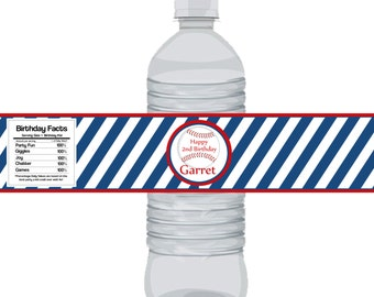 Baseball Bottle Wrap - Blue Stripes and Red, You pick color, Fun Baseball Personalized Party Bottle Label Favor - a Digital Printable File