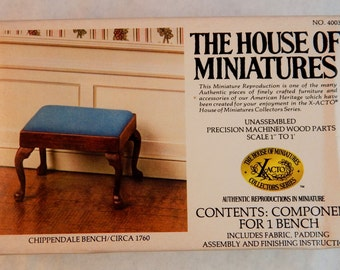 Doll House Chippendale Bench - House of Miniatures Kit - Upholstered Bench  Circa 1760 - 1/12th Scale