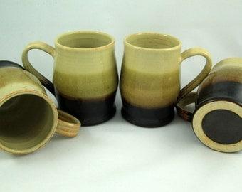 Black and tan mugs, set of four