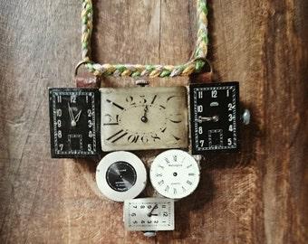 Steampunk antique watch collier
