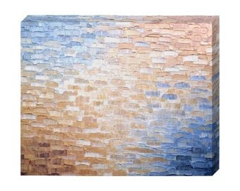 Signed Pre-Stretched PRINT On CANVAS of Original Gold Bronze Metallic Textured Painting - Path To Dreams - Customer Chooses Size