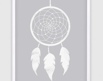 Dreamcatcher Print, Dreamcatcher, Tribal Art, Nursery Decor, Home Decor, Digital Print