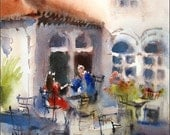 Italian Cafe - Original Watercolor Painting 9x12 inches Love Romance People Couple