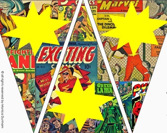Comic Superhero {BLANK} Bunting {INSTANT DOWNLOAD}