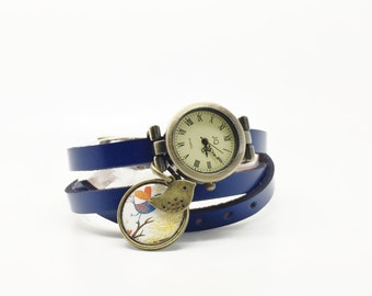 leather watch wrap charm cabochon handmade woman watch