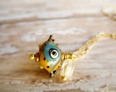 Evil Eye Necklace, Lampwork Glass Evil Eye, Good Luck Charm, Amulette Protection Charm Necklace, Evil Eye Jewelry, Quartz and Brass Jewelry