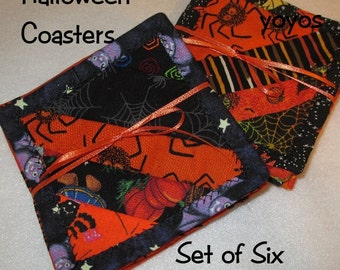HALLOWEEN,  COASTERS,  Quilted,  Pieced,  Patchwork,  Set of Six,  Home Decor, Holdiay Décor, Hostess Gift,  Party Item