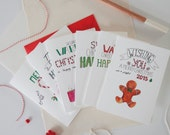 Set of 6 Christmascard (5+1 free) Merry Christmas Happy 2015 Christmas cards