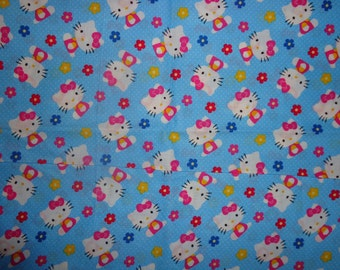 44 Inches Blue Hello Kitty Cotton Fabric