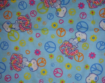 Blue Snoopy/Woodstock Peace/Love  Cotton Fabric by the Half Yard