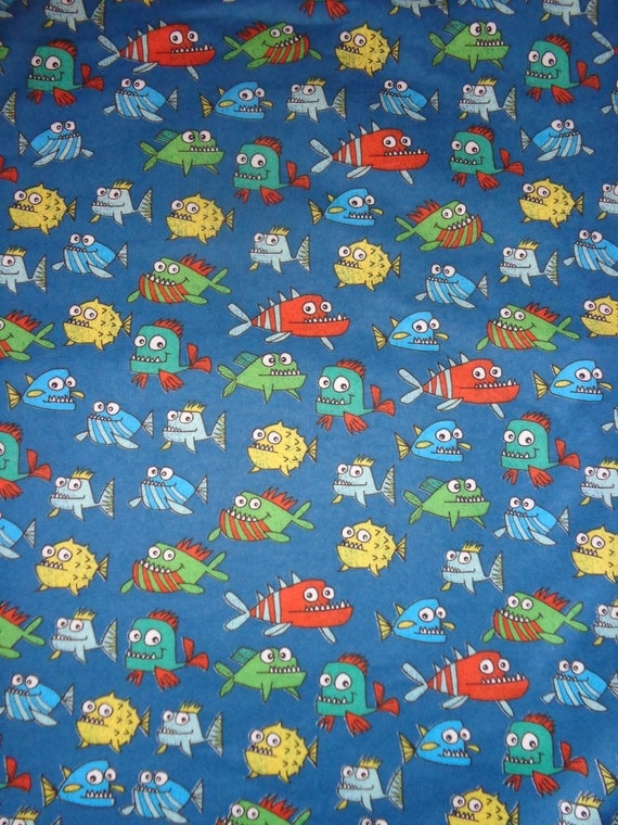 Blue fish toss flannel fabric by the yard by dddesighns on for Fish fabric by the yard