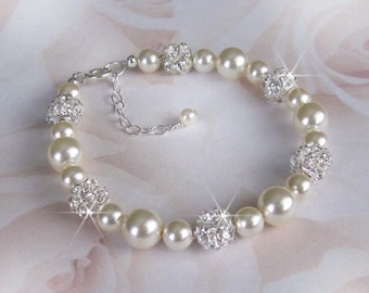 Pearl Bracelet, Pearl and Rhinestone Bracelet, Ivory, White Pearl Wedding Bracelet, Sterling Silver Wedding Jewelry, Bridal Jewelry,
