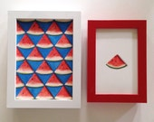 Raffle 4 in x 6 in original watercolor watermelon triangle painting, signed in a red frame with the chance to win this watermelon pattern!