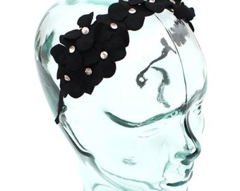Headband accented with a felt flower and jewels, color Jet