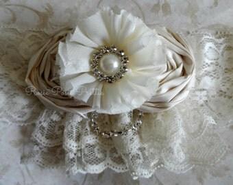 Ivory garter, Wedding Garter, Garter set, bridal set, Ivory Wedding, Silk Garter, Rhinestone garter, Handmade garters, Bridal, Wedding