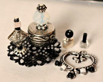 Dollhouse Miniature Perfume, Handmade Dollhouse Miniature Vanity/Toiletries, Miniature Bottles, Silver and Black Set