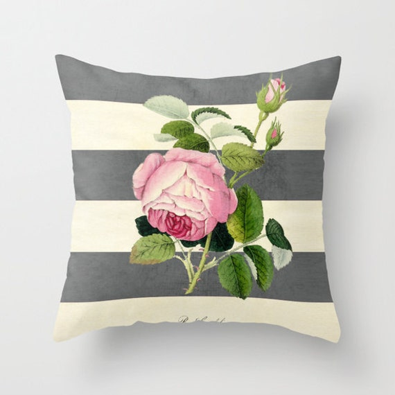 Modern Botanical Pillow : Botanical Stripes 2 Gray Throw Pillow by LushTartArtProject