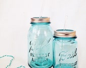 vintage blue QUART traveling mason jar tumbler...complete with glass straw {FREE SHIPPING!}