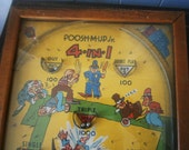 Vintage Poosh-M-Up Jr. 4 In 1 Pinball Game / Table Top Game / Collectible / 1940's / JUST REDUCED