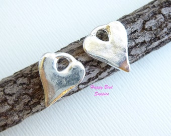Shiny Silver Rustic Chunk Heart Charms -- 2 pieces -- Nunn Design Cast Pewter