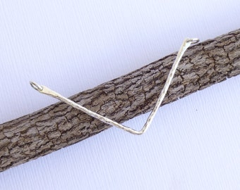 Sterling Silver Larger Hammered Chevron Festoon Connector  -- 1 Piece