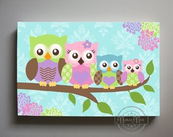 Owl Baby Girl Room Decor wall art - Large Panoramic canvas art - Owl  Nursery - Owl Childrens Art - Childrens Room -Nursery wall art