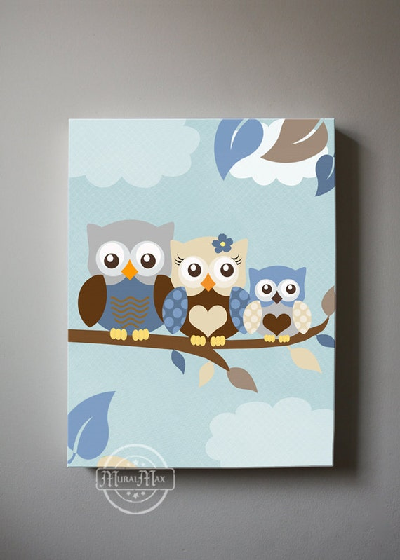 Owl Family Baby Boy Nursery Wall Art Owl Canvas Art Owl Nursery