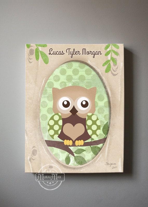 Baby Boy Owl Nursery Decor Brown And Green Owl Canvas Art