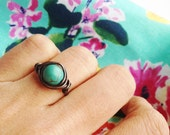 Wirewrapped turquoise bead rustic copper ring / Any size US 4.5 / Size 5, 5.5, 6, 6.5, 7, 7.5, 8, 8.5, 9 ring / Copper jewelry /Antique ring