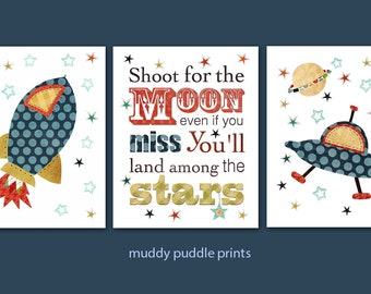 Space Nursery decor, nursery art, boys room art, kids room wall art, outer space prints, Set of 3 prints  - Shoot for the moon