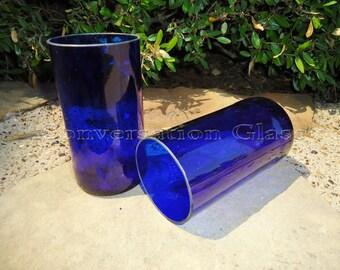 Beer Bottle Glasses Cobalt Blue made from Budweiser Platinum Beer Bottles Set of 2