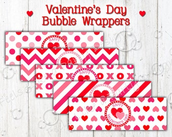 Valentine's Day Bubble Wrappers - Instant Download