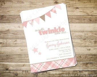 Custom Pink and Brown Twinkle Twinkle Baby Girl Shower Invitation
