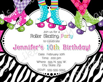 Custom Pink Roller Skating Party Invite