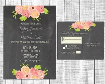 Chalkboard Wedding Invitation Suite, Vintage Wedding Invitation in Coral, Pink, Peach