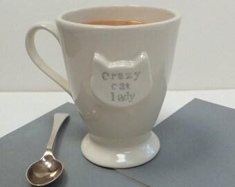 Cat Lady Mug, Crazy Cat Lady Mug, cat, gift for cat lover, ceramic cat