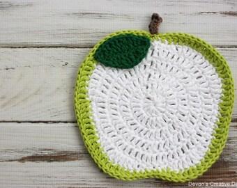 Green Apple Crochet Dishcloth - 100% Cotton