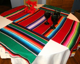 RESERVED FOR KATYA -- 2 Holiday Mexican Serape Table Runners for her friend in another country