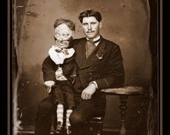 Fridge Magnet vintage creepy Ventriloquist dummy sitting for his portrait sepia tones