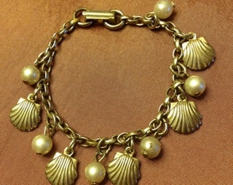 SALE-Child's Size Seashell and Pearl Vintage Charm Bracelet