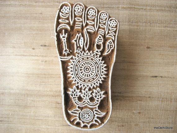 Sanskrit Of The Vedas Vs Modern Sanskrit: Textile Paper Printing Block Hindu God Lord Krishna Foot Print