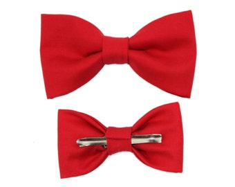 Clip On Red Cotton Bow Tie - Men or Boys Size Bowtie ~ Wedding / Groom / Prom / Father's Day