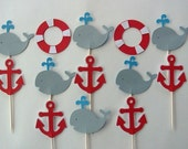 12 Nautical Whale, Preserver, and Anchor Cupcake Toppers, for birthday, baby shower, nautical decorations red white blue gray